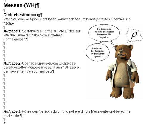 Screenshot eines Arbeitsblattes (Microsoft Word)